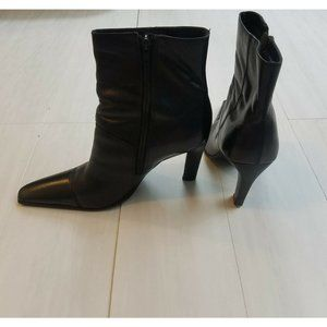 Bronx Women's Black Pointed Toe Boots Leather Heel